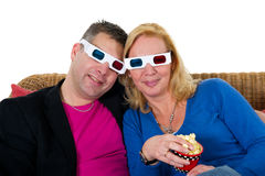 Looking 3D television Royalty Free Stock Image