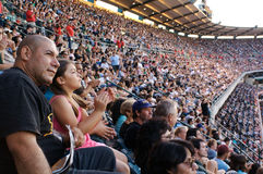 Looking on. People praising during the Harvest Crusade with Greg Laurie at Angels Stadium Royalty Free Stock Photos