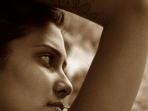 Looking Through. A beautiful India girl posing Royalty Free Stock Images