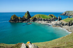 Looking across the bay of Kynance Cove. Looking down onto the beach of Kynance Cove, Cornwall Royalty Free Stock Photo