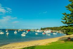 Looking across the boats and harbour at Ulladulla, NSW stock image