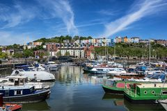 Bristol Marina with Hotwells in the background stock photos