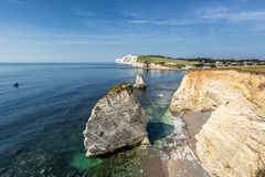 Freshwater Bay the Isle of Wight. Looking across the cliffs to Freshwater Bay on the Isle of Wight in England stock photography