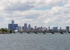 Detroit skyline from Belle Isle fishing pier royalty free stock photography