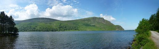 Looking across Ennerdale Water, wide panoramic Royalty Free Stock Images