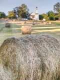 Looking across farm field to an old chapel near Victoria, BC Royalty Free Stock Photography