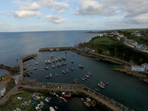 Looking across Mevergissey Harbor. Mevergissey Fishing Harbor in Cornwall South West England. This is an Arial shot taken by a DJI Inspire 1 Drone. All the stock images