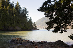Looking across a quiet cove, Squamish, near Vancouver, British Co Royalty Free Stock Photos