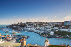Looking across the rooftops of Brixham marina and harbour in South Devon stock images