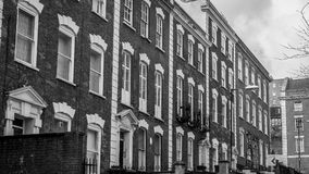 Looking across a Row of Georgian Houses. Shallow depth of field black and white horizontal photography Stock Photo