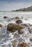 Looking across the sea to Coverack Royalty Free Stock Image