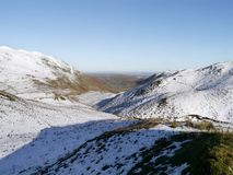 Looking across snow to Boredale valley, Lake District Royalty Free Stock Photography