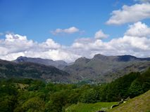 Looking across to the Langdale Pikes Royalty Free Stock Photo