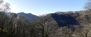 Looking across to Langstrath, Borrowdale in winter Stock Photography