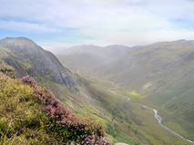 Looking across to Sergeant`s Crag with Langstrath valley below. On Eagle looking across to Sergeant`s Crag with Langstrath valley down on the right with beck stock photography