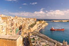 Looking across Valletta to Lower Barrakka Gardens. Victoria Gate and Lower Barrakka Gardens Stock Photos