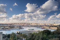 Looking across Valletta to Marsamxett Harbour. Marsamxett harbor and Sliema in Valletta Royalty Free Stock Image
