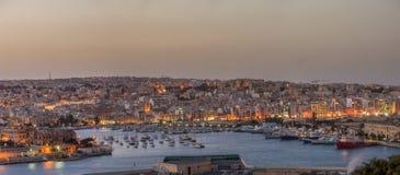 Looking across Valletta to Marsamxett Harbour. Marsamxett Harbour in Valletta Malta Royalty Free Stock Image