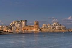 Looking across Valletta to Marsamxett Harbour. Marsamxett Harbour in Sliema at dusk Stock Image