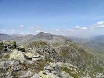 Looking along Crinkle Crags to Bowfell Royalty Free Stock Photos