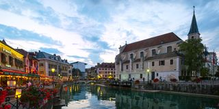 Looking along Le Thiou river in Annecy France at late evening Royalty Free Stock Image