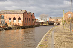 Looking along the Leeds Liverpool canal towards Wigan Pier. Stock Photo