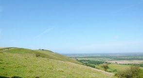 Top of the South Downs - looking along the ridge stock photography