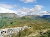 Looking along wall to Kirkstone Pass, Lake District Royalty Free Stock Photos