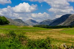 Wasdale fells from the road from Santon Bridge. Looking along the Wasdale valley from the road from Santon Bridge towards the head of the lake Stock Photos