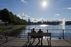 Looking at the Alster lake Royalty Free Stock Image