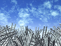 Looking-For-Answers. Looking for answers Lost and confused as ladders in disoriented directions as a business and financial icon of uncertainty and obstacles and Royalty Free Stock Photo
