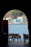 Looking through an archway, Kastellorizo, Greece Stock Photo