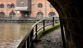 Under the Bridge at Wigan Pier. Looking around under the bridge at Wigan Pier on the Leeds Liverpool canal Royalty Free Stock Photo