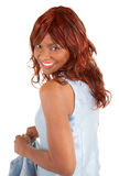 美丽的非洲裔美国人的夫人Looking Back 库存图片