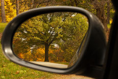 Reflection of the colorful fall trees in rear view mirror. Stock Images