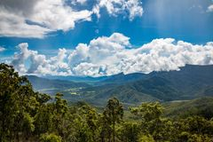Looking back from the mountains. The view of the valley from the top of the mountains Stock Image