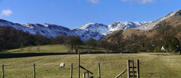 Looking back to deepdale, panoramic Royalty Free Stock Image