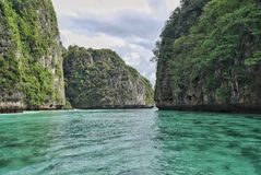 Looking back to the entrance to Maya bay royalty free stock photography
