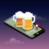 Looking for bar. Mobile searching. Isometric mobile and beer. Geo tracking. Map. Flat 3d  isometric illustration. Concept picture Stock Photo