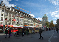 Looking from the Barenplatz towards the Bundesplatz in Bern, Switzerland Royalty Free Stock Photography