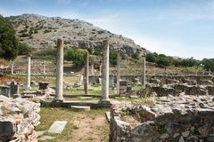 Ancient Philippi. Looking from Basilica B to Basilica A. Remains from historic Philippi that would have been visited by the Apostle Paul, Silas, Lydia and early stock photography