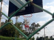 Basketball. Looking basketball court form net Royalty Free Stock Photos