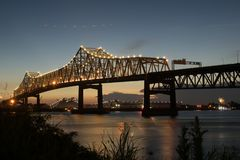 Sunset at Interstate 10 crossing the Mississippi River in Baton Rouge royalty free stock photography