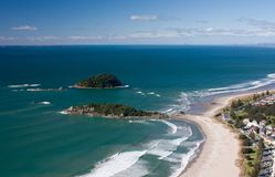 Looking at the beach from the Mount Maunganui near Tauranga in New Zealand. Looking at the beach from the Mount Maunganui in New Zealand stock photography