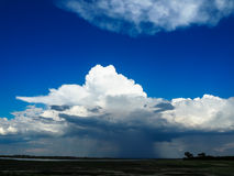Looking at beautiful raining cloud from afar with blue sky backg. Round during game drive in Chobe national park Royalty Free Stock Photography
