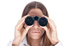 Looking through binocular Royalty Free Stock Photos