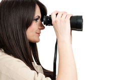 Looking through binoculars Royalty Free Stock Photography