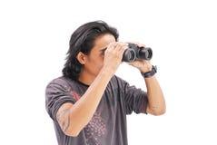 Looking Through Binoculars Royalty Free Stock Images