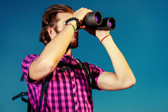 Looking binoculars Royalty Free Stock Photography