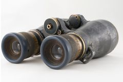 Looking binoculars lens isolated on white Royalty Free Stock Image